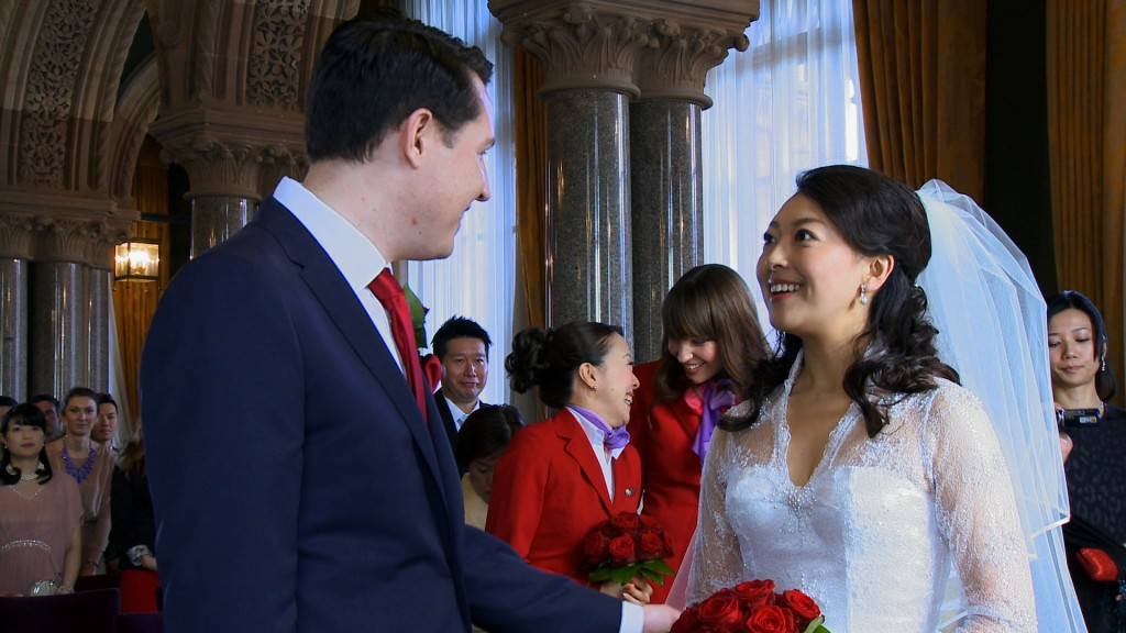 Anglo Japanese wedding civil wedding St Pancras Renaissance Hotel London